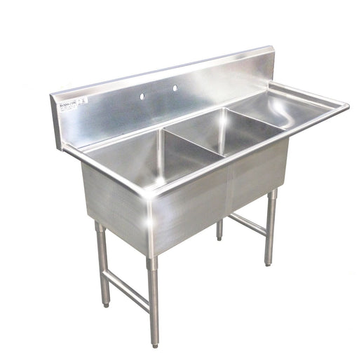 "Stainless Steel 2 Compartment Restaurant sink, 56-1/2"" 16 Gauge with Drain Board 