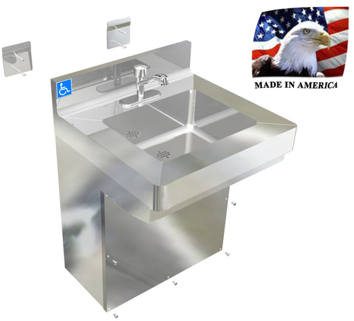 "Stainless Steel ADA Compliant Single User Hand Sink, 24"" Wall Hung with Vandal resistant enclosure 