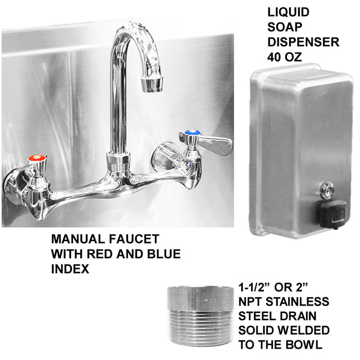 "Stainless Steel Multi-Station Wash up Sink, 48"" Manual Faucets, Wall Brackets Added Soap Dispenser 