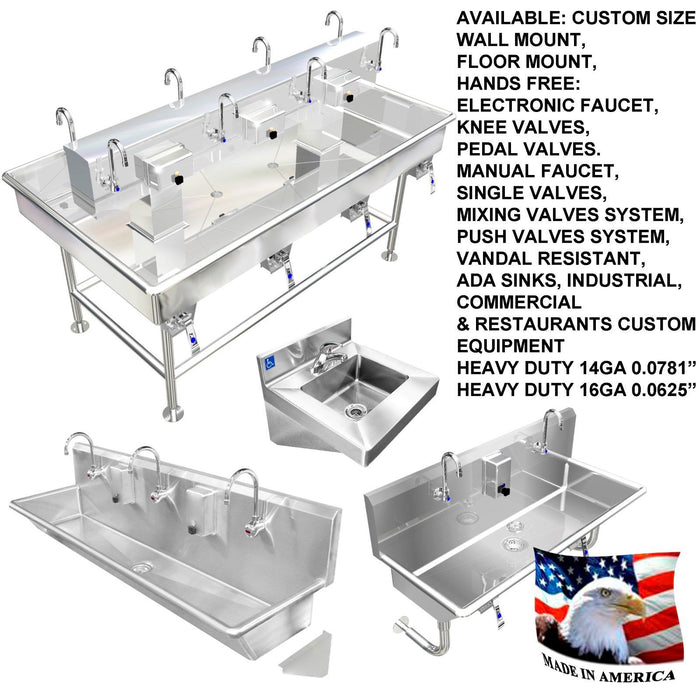 "MULTI USER 4 STATION HAND WASH SINK 84"" WITH KNEE VALVES 4 LEGS MADE IN AMERICA - Best Sheet Metal, Inc."