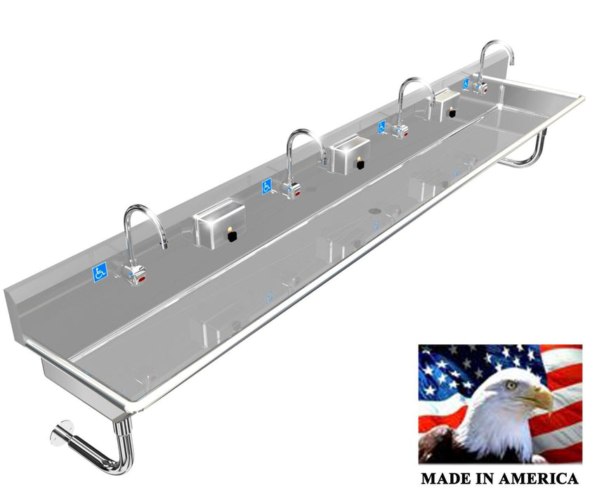 "HAND SINK WASH UP ADA 4 STATION 120"" AUTOMATIC FAUCET, STAINLESS STEEL MULTIUSER - Best Sheet Metal, Inc."