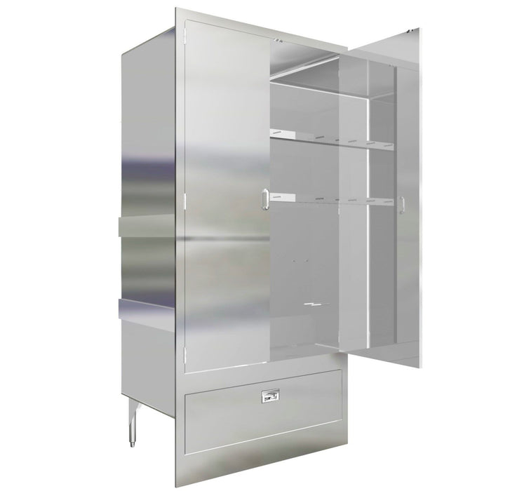 "CABINET MOP SINK 38"" MAT WASH STAINLESS STEEL ENCLOSURE WITH DOORS MADE IN USA - Best Sheet Metal, Inc."