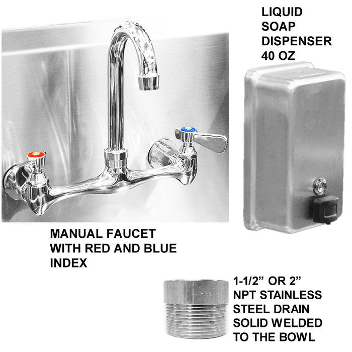 "Heavy Duty 14 gauge (0.0781"") Type 304 Stainless Steel Multi-station Wash up Sink, 72"" Manual Faucets, Free Standing 