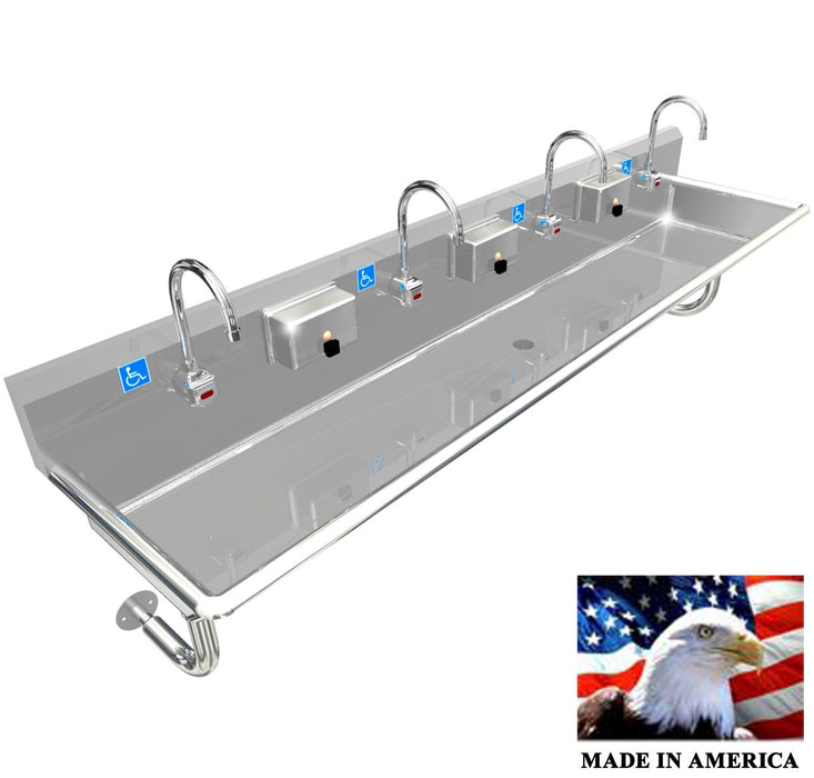 "ADA 4 PERSON 84"" HAND WASHING SINK ELECTRONIC FAUCET, WALL MOUNT MADE IN AMERICA - Best Sheet Metal, Inc."