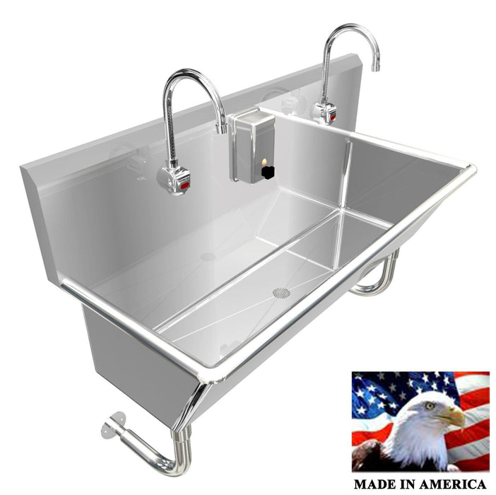 "WASH UP HAND SINK 2 USERS MULTISTATION 48"" ELCT FAUCET 12"" TUB DEEP MADE IN USA - Best Sheet Metal, Inc."
