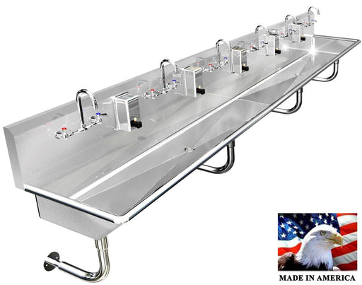 "MULTI STATION 6 WASHING HAND SINK 132"" MANUAL FAUCETS WITH 2 DRAINS MADE IN USA - Best Sheet Metal, Inc."