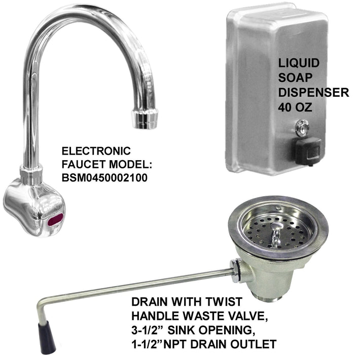 "HANDS FREE SINK 2 USERS 48"" ELEC F. 1-1/2"" TWIST HANDLE WASTE VALVE MADE IN USA - Best Sheet Metal, Inc."
