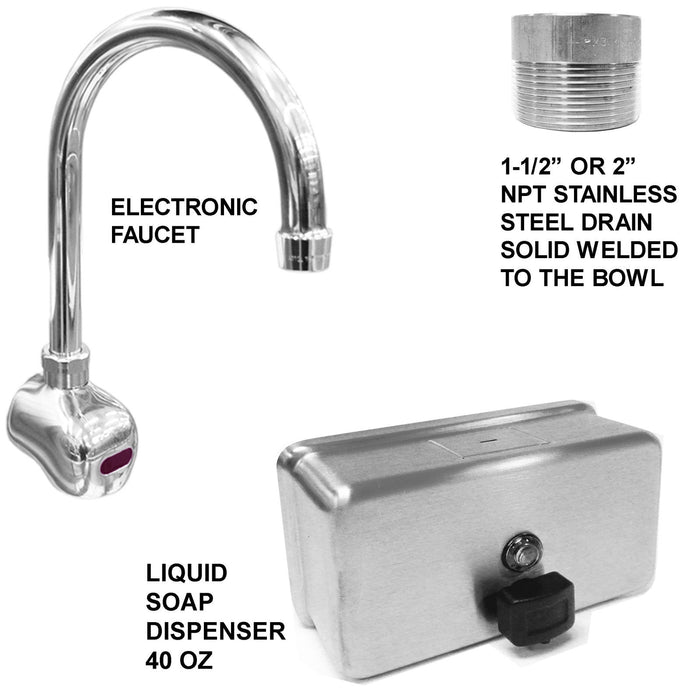 "ADA HAND WASH SINK 2 STATION 60"" ELECTRONIC FAUCET FREE STANDING STAINLESS STEEL - Best Sheet Metal, Inc."