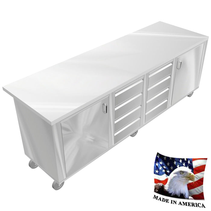 "STAINLESS STEEL ISLAND PREPARATION TABLE TOP 30""X96"" 8 DRAWERS DOORS UNDERSHELF - Best Sheet Metal, Inc."