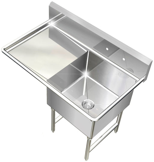 POT SINK HEAVY DUTY STAINLESS STEEL 14GA 1 TUB 39X24 NSF LEFT DRAINBOARD ONLY - Best Sheet Metal, Inc.
