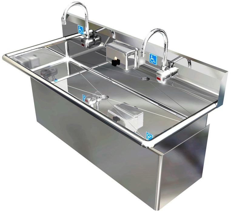 "ADA 2 STATION 48"" HAND WASH SINK ELEC FAUCET HIDING PLUMBING SKIRT MADE IN USA - Best Sheet Metal, Inc."