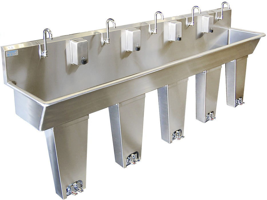 "HAND SINK 5 PERSON 120"" PEDAL VALVE COLUMNS 2 WELDED DRAINS MADE IN AMERICA - Best Sheet Metal, Inc."