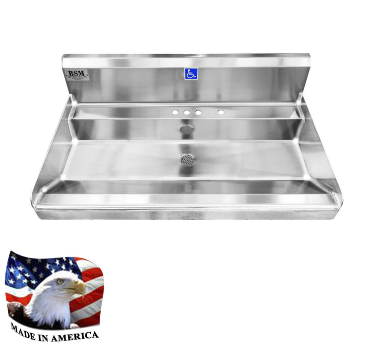 "Stainless Steel Elite ADA Compliant Single Station Wash up Sink, 36"" Sink Body Only, Wall Brackets 