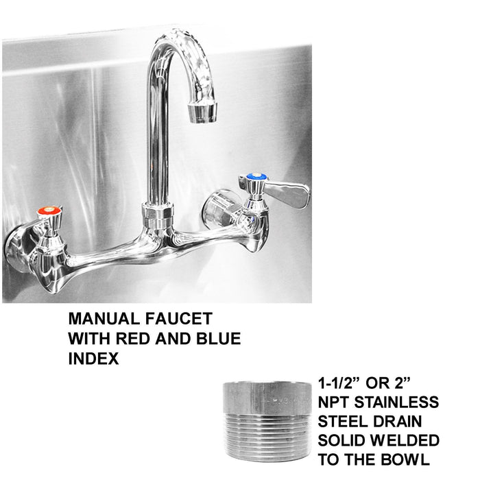 ISLAND WASH UP HAND SINK 4 USERS 48X40 MANUAL FAUCET HANDS FREE MADE IN AMERICA - Best Sheet Metal, Inc.