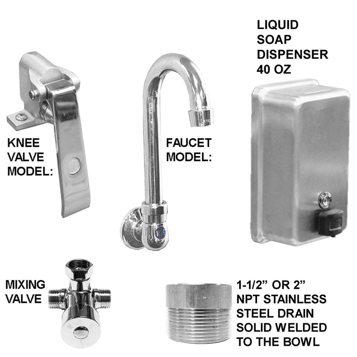 "Stainless Steel Multi-station Wash up Sink, 36"" Knee Valves, Round Tube Brackets 