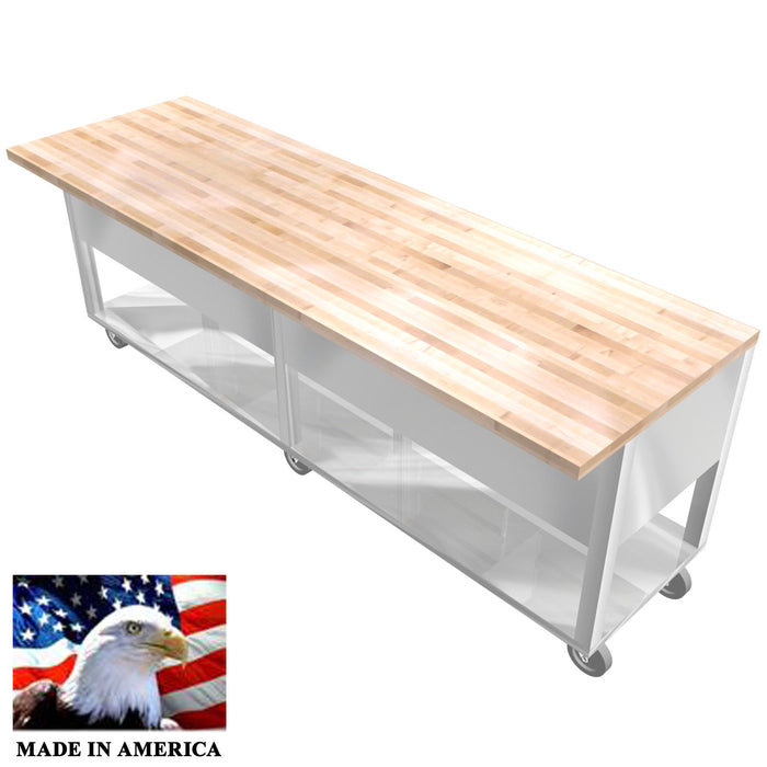"STAINLESS STEEL ISLAND TABLE MAPLE WOOD TOP 30""X96"" 8 DRAWERS FULL UNDERSHELF - Best Sheet Metal, Inc."