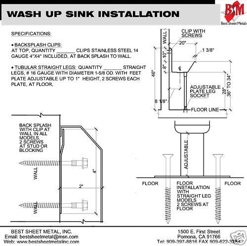 "WASH UP HAND SINK 4 USERS MULTISTATION 80"" 304 HD STAINLESS STEEL MANUAL FAUCETS - Best Sheet Metal, Inc."