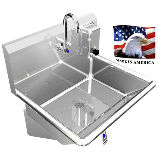 "HAND SINK BASIN 1 STATION 24"" KNEE VALVE INDUSTRIAL STAINLESS STEEL HEAVY DUTY - Best Sheet Metal, Inc."