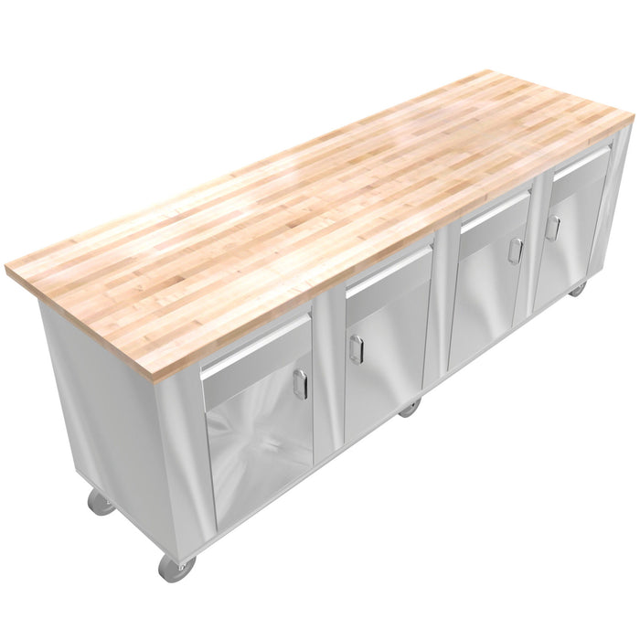 "STAINLESS STEEL ISLAND TABLE MAPLE TOP 30""X96"" 4 DRAWERS, 4 DOORS & SHELVES - Best Sheet Metal, Inc."