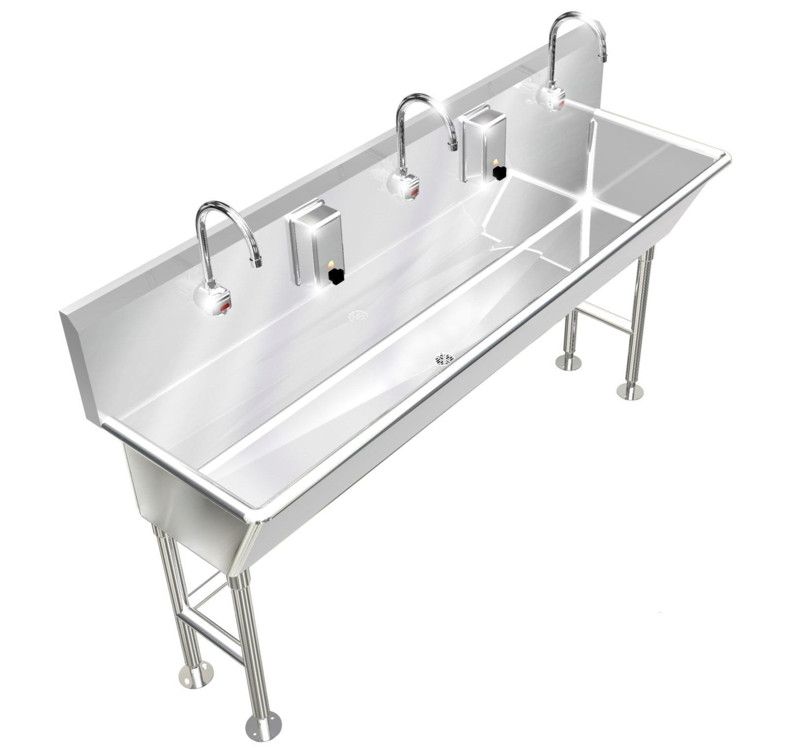 "HAND WASH SINK 3 STATION 72""L 12"" BOWL DEEP ELECTRONIC FAUCET FREE STANDING - Best Sheet Metal, Inc."