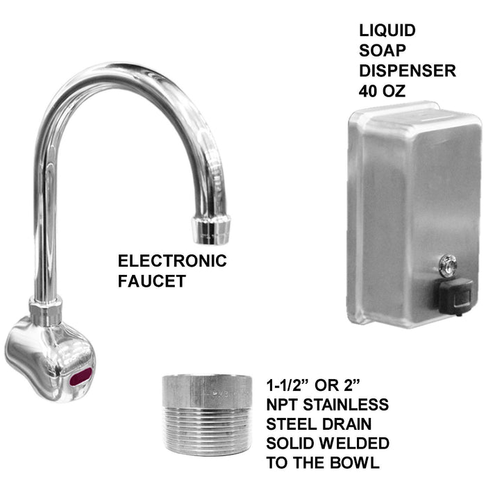 "Heavy Duty 14 gauge (0.0781"") Type 304 Stainless Steel Multi-Station Wash up Sink, 42"" Electronic Faucets, Wall Brackets, Added Soap Dispenser 