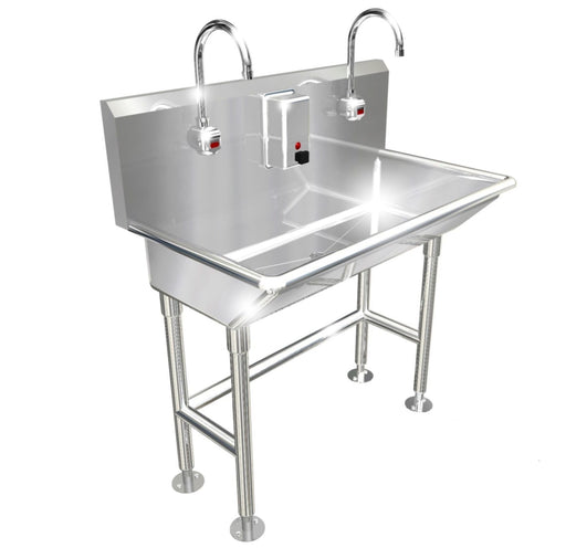 "HAND WASH SINK 2 STATION 36"" ELECTRONIC FAUCET FREE STANDING MADE IN AMERICA - Best Sheet Metal, Inc."