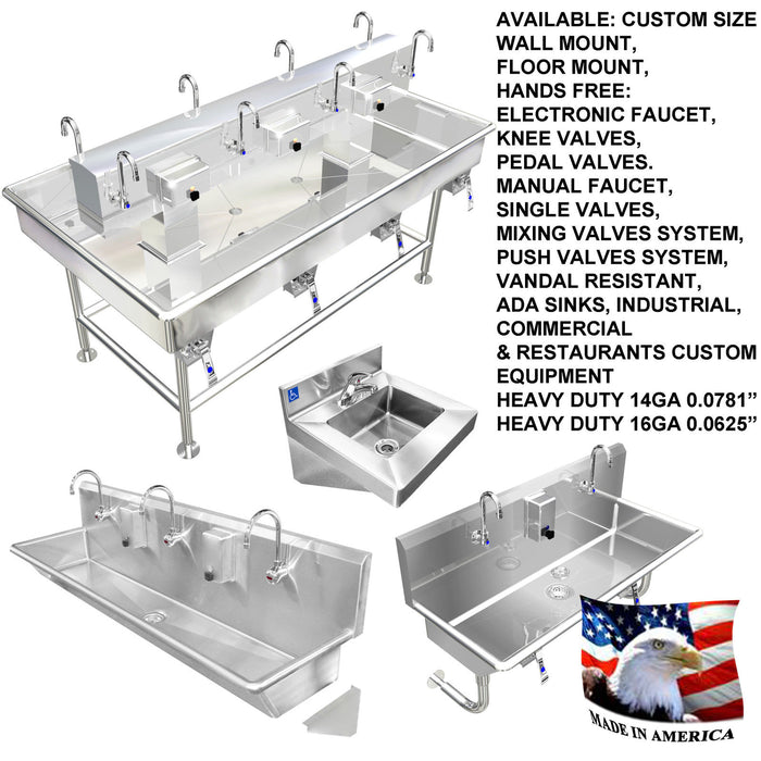 "Heavy Duty 14 gauge (0.0781"") Type 304 Stainless Steel Multi-Station Wash up Sink, 72"" Knee Valves, Round Tube Brackets 