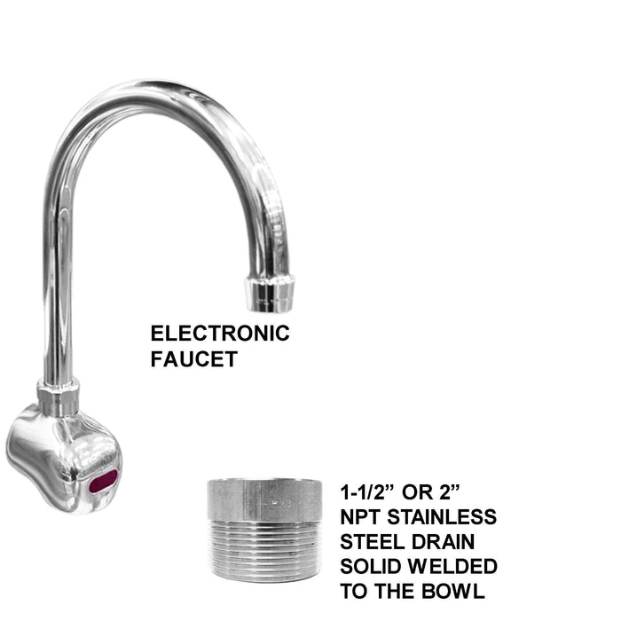 "Heavy Duty 14 gauge (0.0781"") Type 304 WASHING HAND SINK 36""X24""X15""DEEP BIG TUB HEAVY DUTY STAINLESS STEEL ELEC FAUCET"