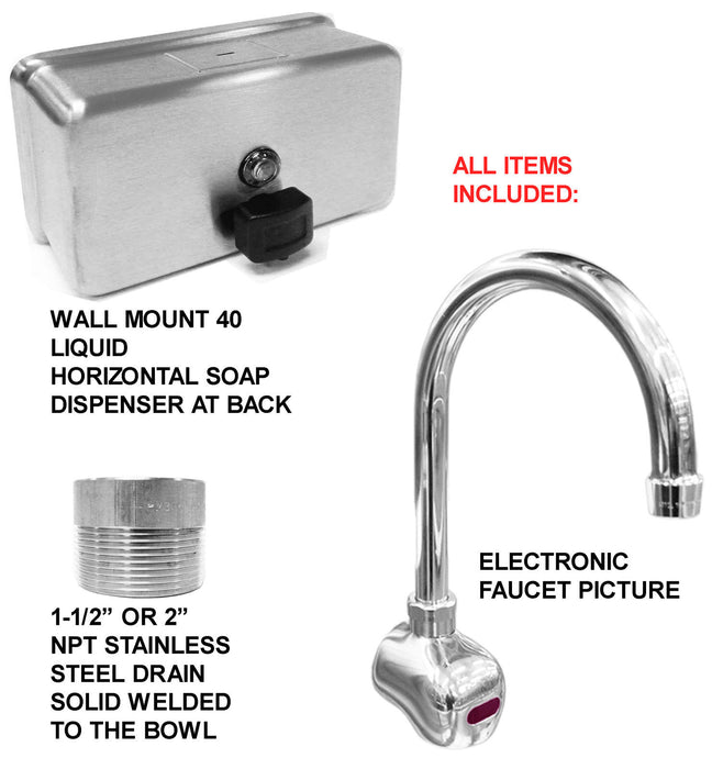 "CORNER HAND SINK ELECTRONIC FAUCET 2 STATION 36X36"" HANDS FREE STAINLESS ST 14GA - Best Sheet Metal, Inc."