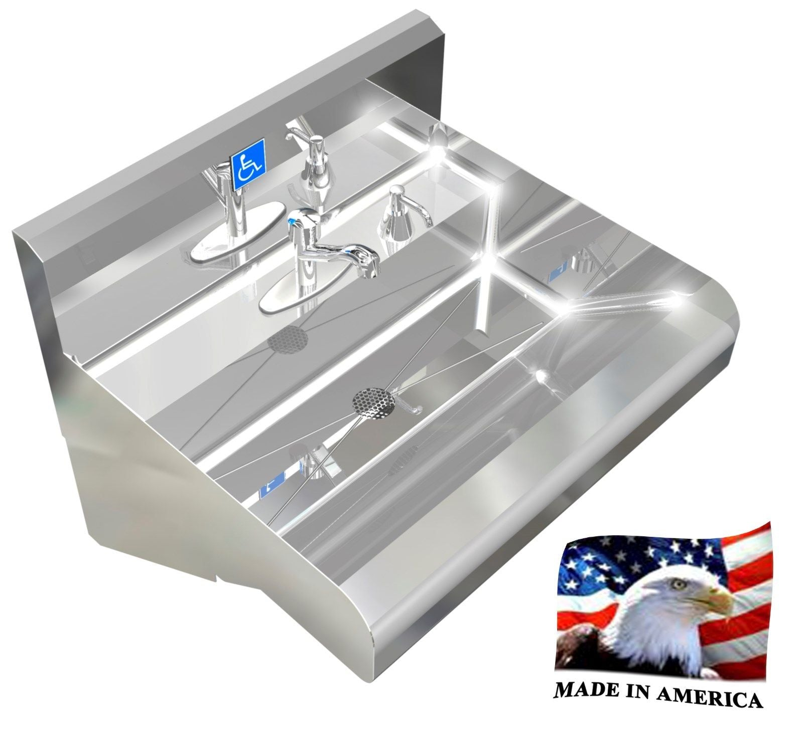 "Stainless Steel ADA Compliant Elite Hand Sink, 24"" Metering Faucets 
