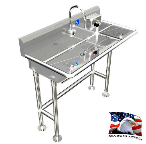 "Stainless Steel ADA Compliant Multi-Station | Wash up Sink, 40"" Electronic Faucet, Wall Brackets Low Profile 