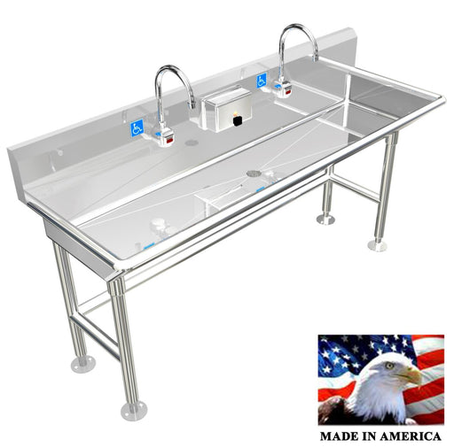 ADA Compliant Wash up Sink 2 Stations Free Standing, 60"