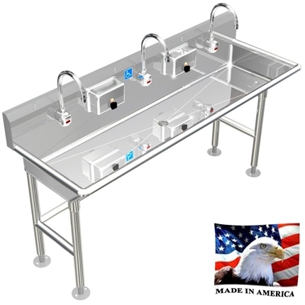 "Stainless Steel ADA Compliant Multi-Station Wash up Sink, 60"" Electronic Faucet, Free Standing 