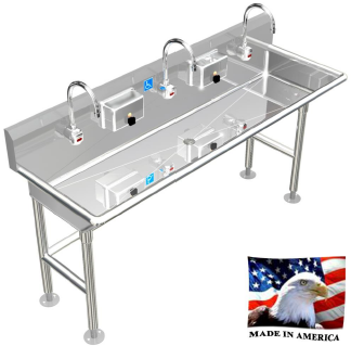 "STAINLESS STEEL ADA COMPLIANT MULTI-STATION WASH UP SINK, 72"" ELECTRONIC FAUCET, FREE STANDING ADA-032E722066H - Best Sheet Metal, Inc."