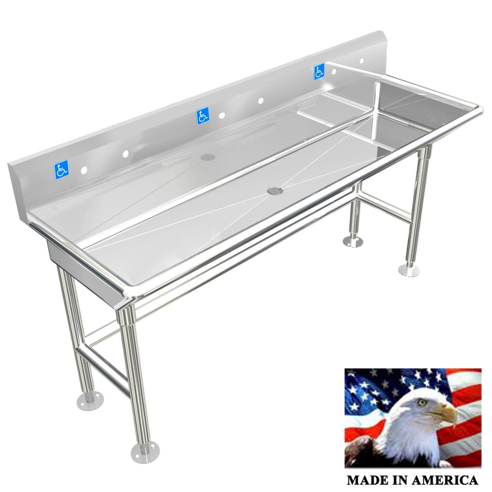 "Stainless Steel ADA Compliant 3 Station | Wash up Sink,60"" Sink Body Only, Free Standing Low Profile 