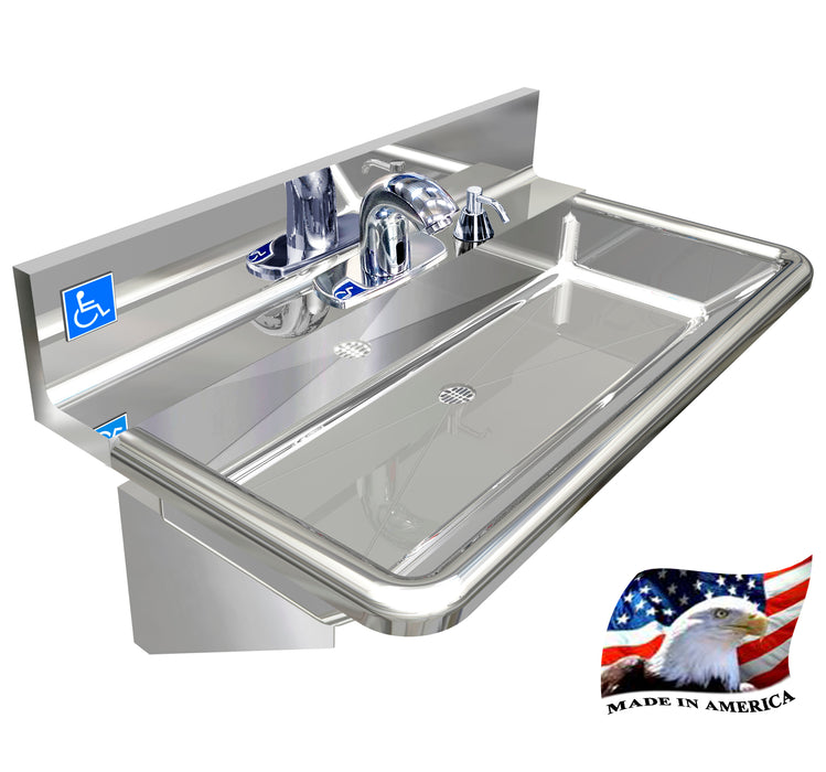 "Heavy Duty 14 gauge (0.0781"") Type 304 Stainless Steel Single Station Hand Sink, With Electronic Faucet 30"" L x 17"" W x 5"" D 