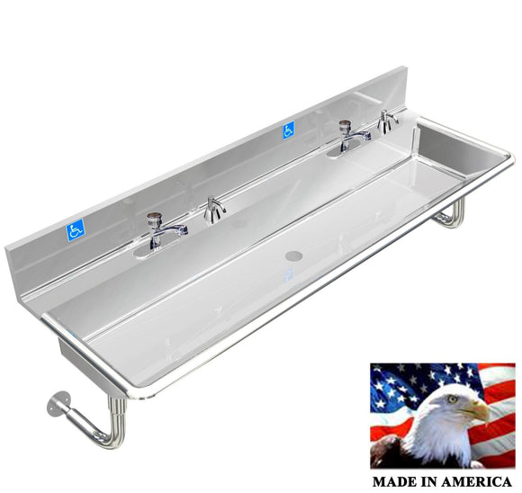 Stainless Steel ADA Compliant Multi-Station Wash up Sink, 72