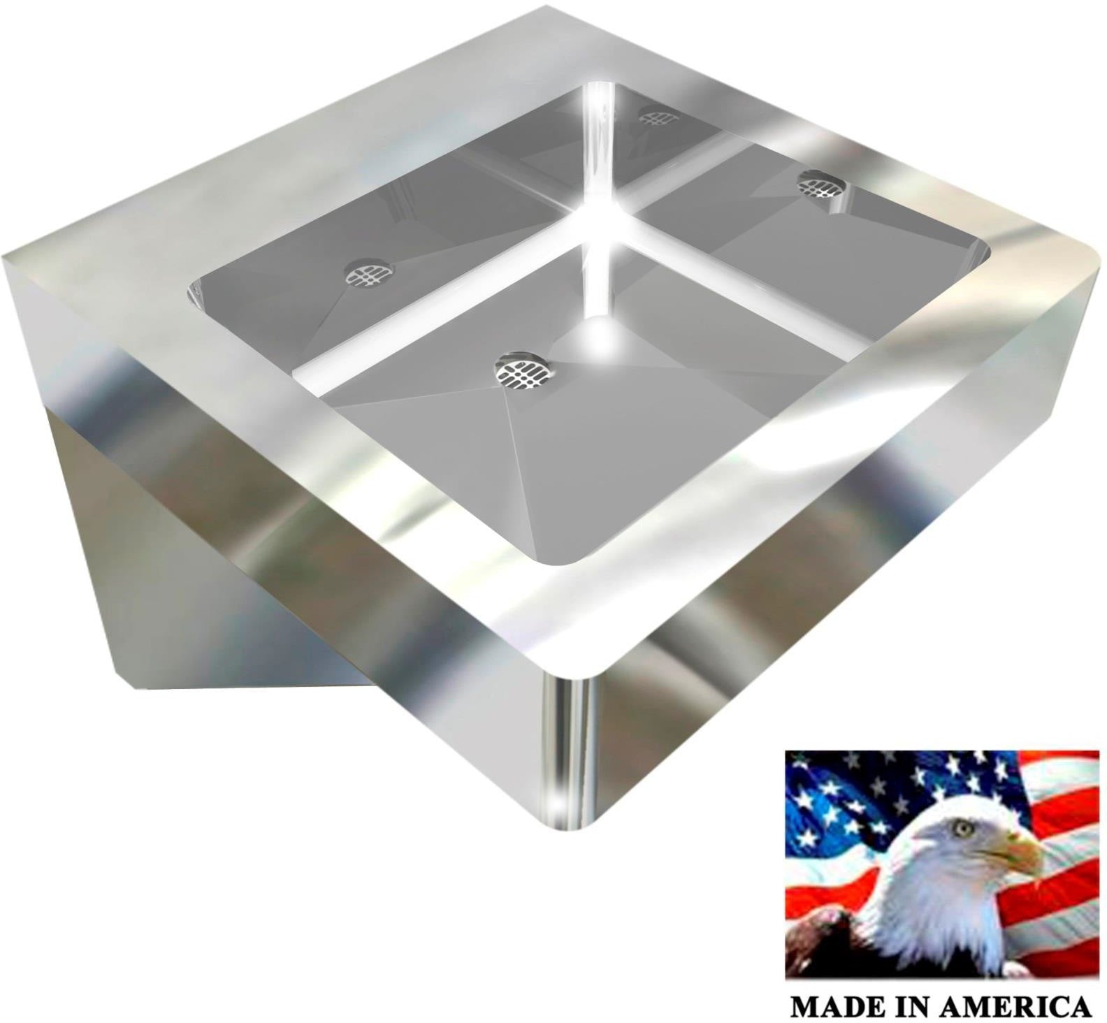 "Heavy Duty 14 gauge (0.0781"") Type 304 Stainless Steel Single Station Flat Sink,  18"" L x 18"" W x 5"" D 