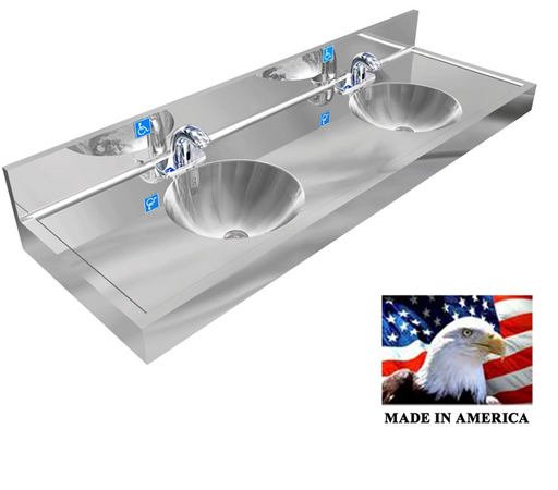 "Stainless Steel ADA Compliant Round Bowl Multi-Station Wash up Sink, 66"" Electronic Faucet, Wall Brackets ADA-R0309624B011 - Best Sheet Metal, Inc."
