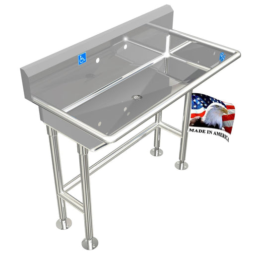"Stainless Steel ADA Compliant Multi-Station | Wash up Sink, 40"" Sink Body Only, Free Standing Low Profile 