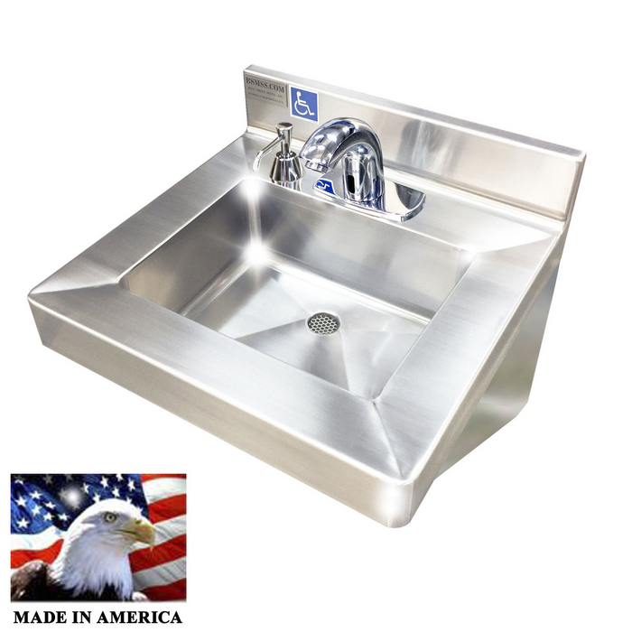 "Stainless Steel Single Station Hand Sink with Electronic Faucet,  20"" L x 19"" W x 5-1/2"" D 