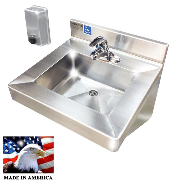"Stainless Steel Single Station Hand Sink Single control lever faucet, 20"" L x 19"" W x 5-1/2"" D 