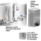 "Stainless Steel Multi-Station Wash up Sink, 40"" Manual Faucets, Round Tube Brackets 