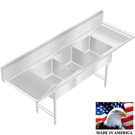"Stainless Steel 3 compartment sink, 90-1/2"", 18 x 18 x 12 Bowls 14 Gauge 