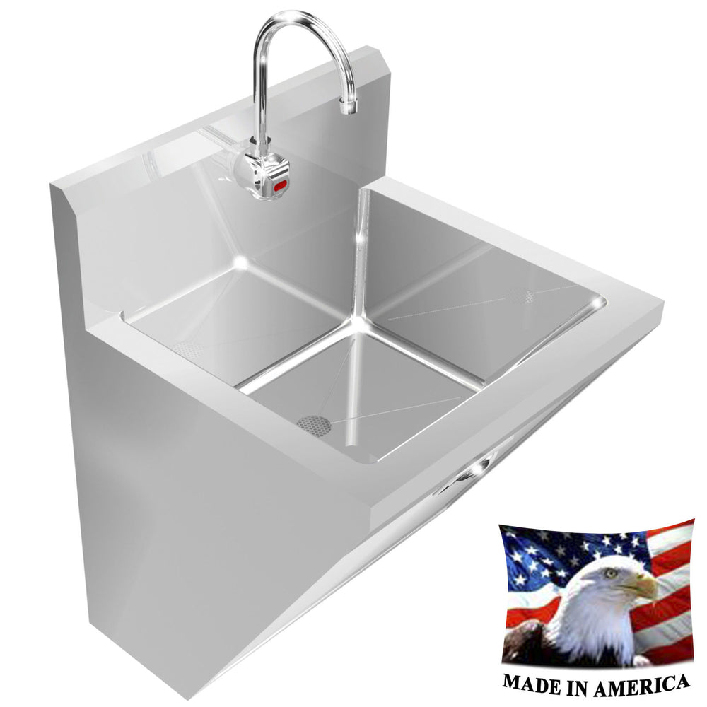 "SURGEON'S HAND SINK ELECT. FAUCET HANDS FREE SINGLE STATION 24"" STAINLESS STEEL - Best Sheet Metal, Inc."