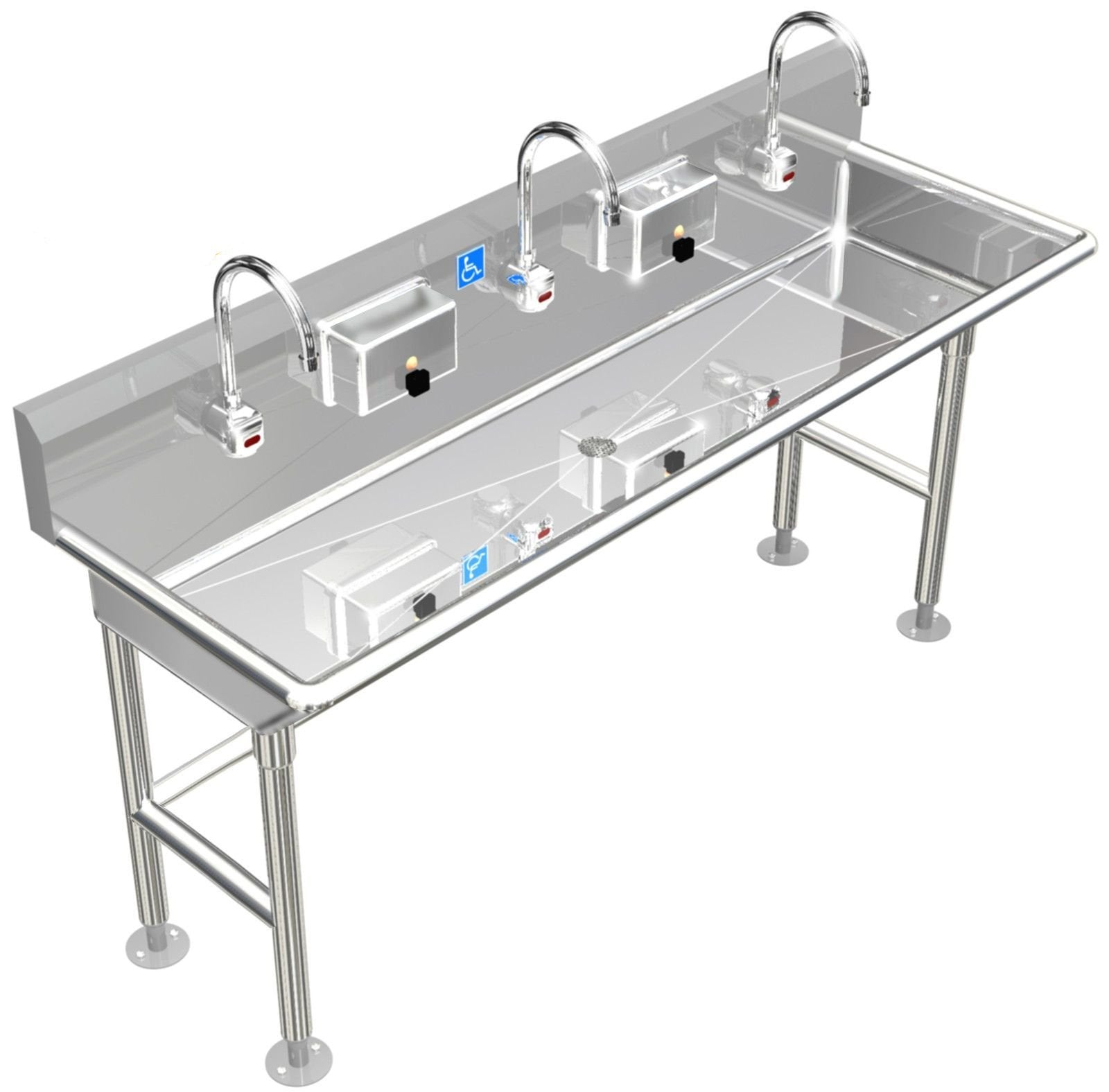 "ADA HAND SINK 3 STATION 80"" FLOOR MOUNT ELECTR FAUCET FREE STANDING STAINLESS S. - Best Sheet Metal, Inc."