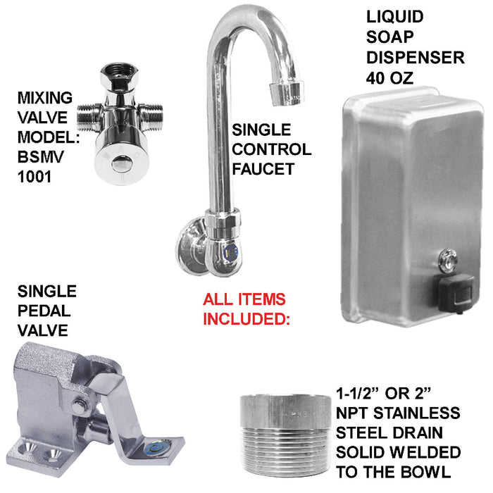 "HAND SINK 6 STATION 1 ADA @LEFT 5 SINGLE PEDAL VALVES W/COLUMNS 144"" MADE IN USA - Best Sheet Metal, Inc."