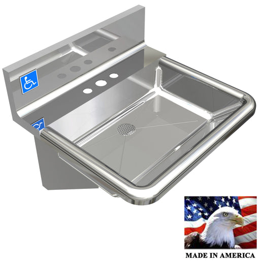 "ADA HEAVY DUTY STAINLESS STEEL HAND SINK FAUCET HOLES ONLY 18-3/4""X17""/DEEP=5"" - Best Sheet Metal, Inc."