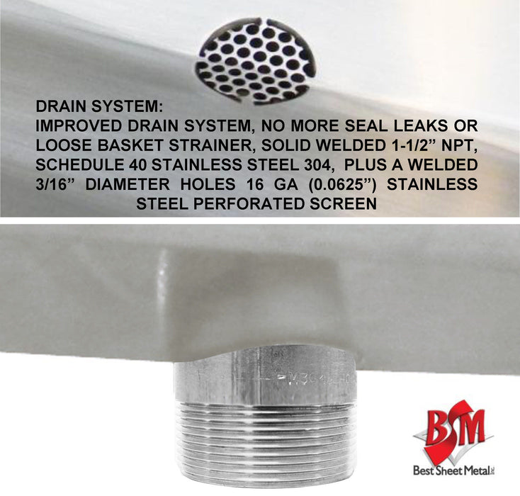 "ADA HEAVY DUTY STAINLESS STEEL HAND SINK MADE IN USA 18-3/4""X17"" BOWL DEEP=5"" - Best Sheet Metal, Inc."