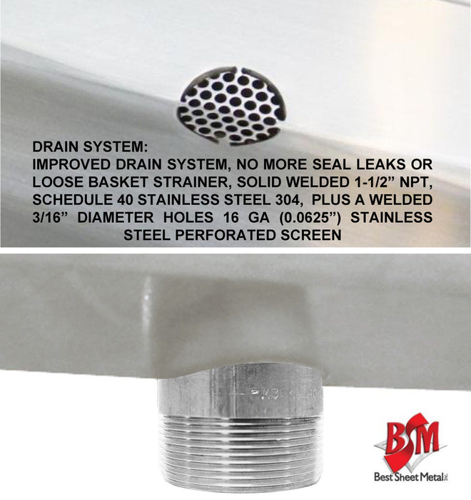 "HAND SINK 36""X20""X15""DEEP TUB HEAVY DUTY STAINLESS STEEL BASIN W/SOAP DISPENSER - Best Sheet Metal, Inc."